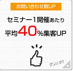 お問い合わせ数UP セミナー1開催あたり 平均40%集客UP