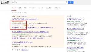 Googleアドワーズの検索窓 お名前.com